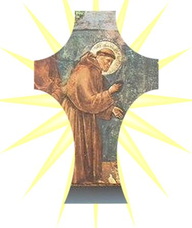 St Francis depicted within a Holding Cross